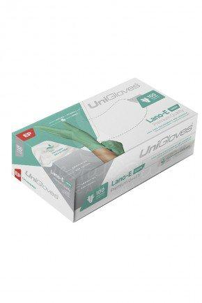 caixa luva de latex para procedimento verde lanolina e vitamina e unigloves com 100 unidades
