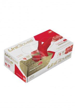 caixa luva de latex para procedimento vermelho cereja sem po unigloves com 100 unidades