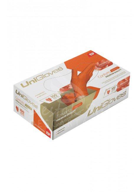caoxa luva de latex para procedimento laranja sem po unigloves com 100 unidades