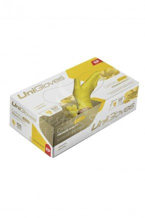 caixa luva de latex para procedimento amarela sem po unigloves com 100 unidades