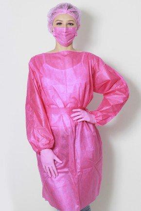 frente avental descartavel pink manga longa tnt 40g com 5 unidades