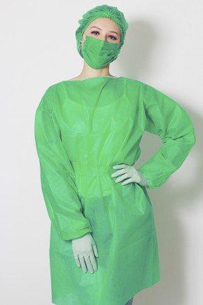 frente avental descartavel verde bandeira manga longa tnt 40g com 5 unidades