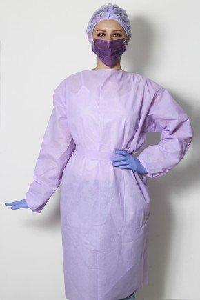 avental descartavel lilas manga longa tnt 40g com 5 unidades