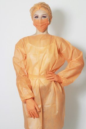 frente avental descartavel laranja manga longa tnt 40g com 5 unidades
