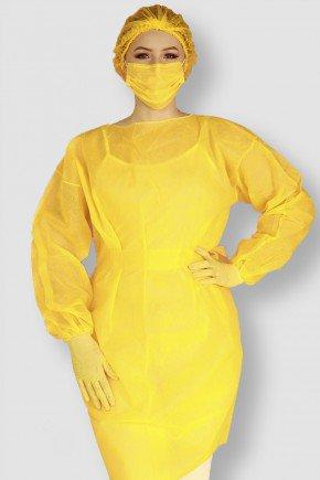 frente avental descartavel amarelo manga longa tnt 40g com 5 unidades