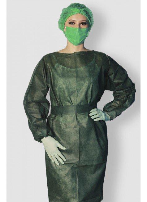 frente avental descartavel verde musgo manga longa destak tnt 40g com 5 unidades