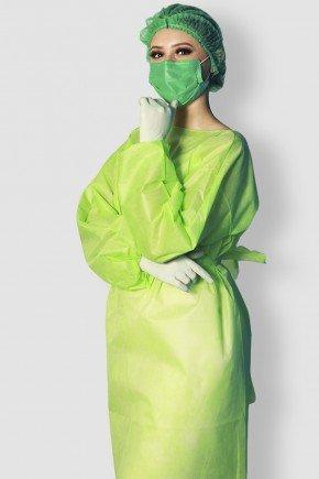 frente2 avental descartavel verde limao manga longa tnt 40g com 5 unidades
