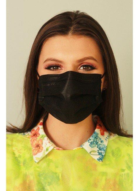mascara descartavel preta com elastico color destak com 50 unidades