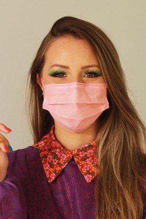 mascara descartavel rosa com elastico color destak com 50 unidades