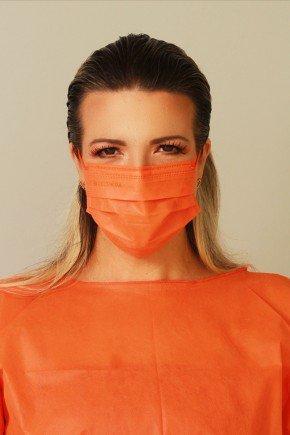 mascara descartavel laranja com elastico color destak com 50 unidades