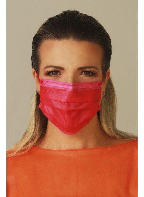 mascara descartavel bicolor pink e vermelha com elastico color destak com 50 unidades