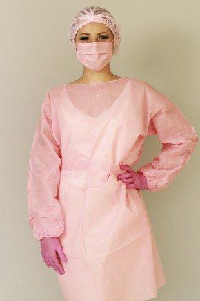 avental descartavel rosa manga longa tnt 40g com 5 unidades