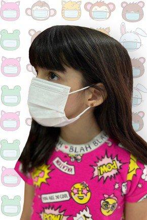 mascara descartavel infantil branca destak com 50 unidades 2