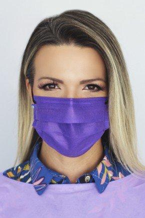mascara descartavel roxa com elastico preto destak com 50 unidades 1