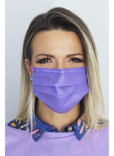 mascara descartavel lilas com elastico color destak com 50 unidades 1