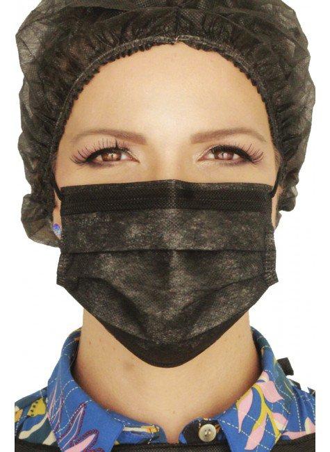 mascara cirurgica descartavel preta com elastico color destak com 50 unidades 1