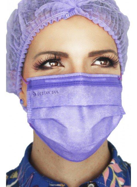 mascara cirurgica descartavel lilas com elastico color destak com 50 unidades 2