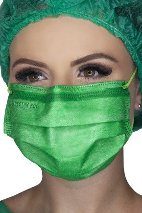 mascara cirurgica descartavel verde com elastico color destak com 50 unidades