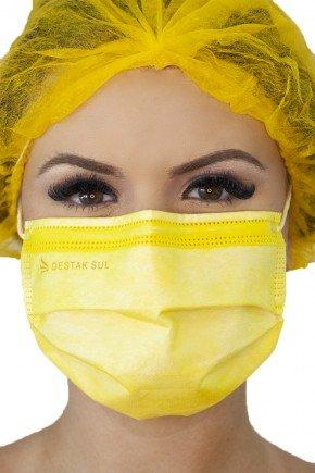 mascara cirurgica descartavel amarela com elastico color destak com 50 unidades 2 copiar
