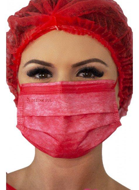 mascara cirurgica descartavel vermelha com elastico color destak com 50 unidades