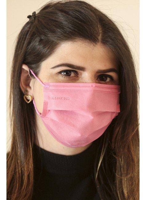mascara descartavel rosa chiclete com elastico color destak com 50 unidades 1