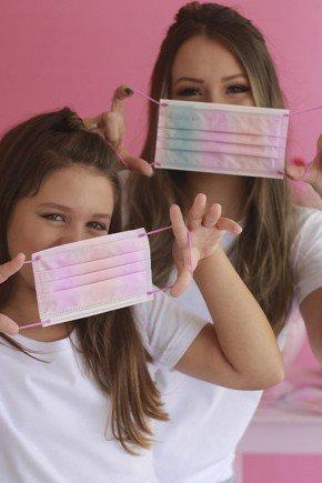 kit mascara cirurgica descartavel estampada candy color com elastico color destak