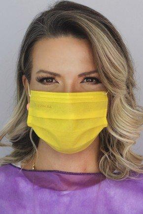 mascara descartavel amarela com elastico color destak com 50 unidades 4