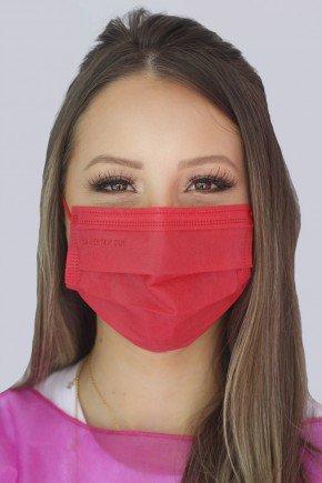 mascara descartavel vermelha com elastico color destak com 50 unidades 2