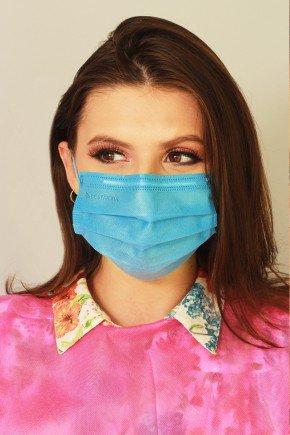 mascara descartavel azul com elastico color destak com 50 unidades 4
