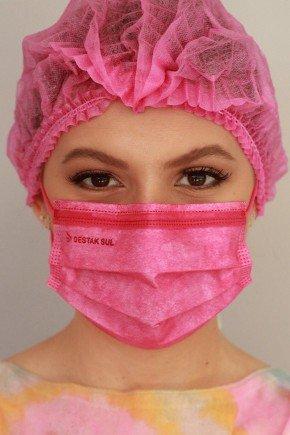 mascara cirurgica descartavel new pinkcom elastico color destak com 50 unidades 2 1