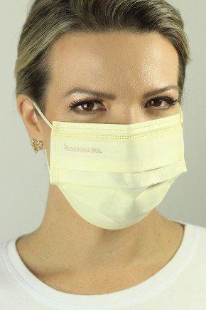 mascara descartavel cirurgica baunilha com elastico color destak com 50 unidades 2