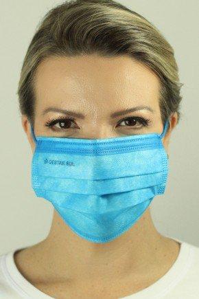 mascara descartavel cirurgica azul royal com elastico color destak com 50 unidades 12