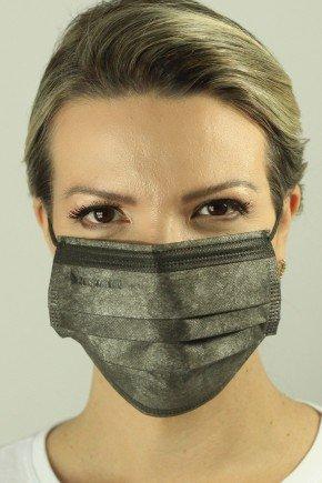 mascara descartavel cirurgica cinza com elastico color destak com 50 unidades 9