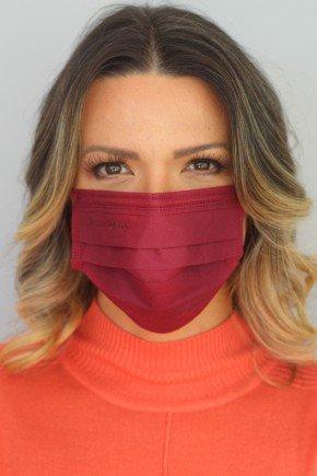 mascara descartavel marsala com elastico color destak com 50 unidades 1