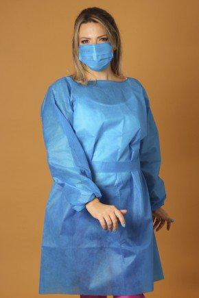 avental descartavel azul royal manga longa tnt 40g com 5 unidades