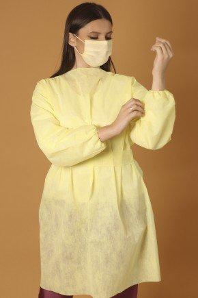 avental descartavel nude baunilha manga longa tnt 40g com 5 unidades 3