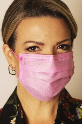 mascara descartavel rosa nova com elastico color destak com 50 unidades 2