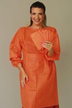 avental descartavel laranja manga longa tnt 40g com 5 unidades 5